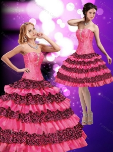 2015 Beautiful Hot Pink Strapless Quinceanera Dresses with Beading and Ruffled Layers