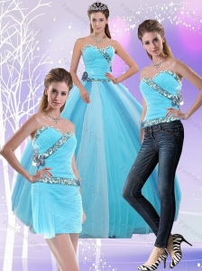 2015 Decent Light Blue Quinceanera Dresses with Ruching and Appliques