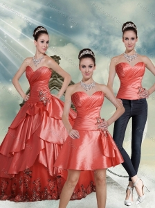 2015 Detachable Beading Watermelon Sweetheart Quinceanera Dresses