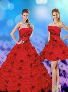 2015 Elegant Red Strapless Quinceanera Dresses with Beading and Hand Made Flower