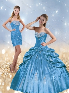2015 Exquisite Beading and Pick Ups Quinceanera Dresses in Baby Blue