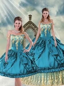2015 Gorgeous Off The Shoulder Embroidery and Pick Ups Quinceanera Dress in Teal