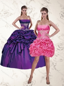 2015 Gorgeous Purple Quinceanera Dresses with Appliques and Pick Ups
