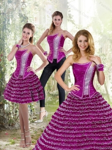 2015 Luxurious Fuchsia A Line Strapless Quinceanera Dress with Ruffled Layers