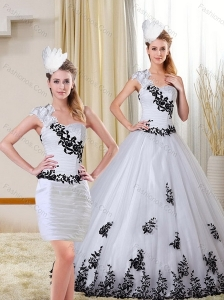 2015 One Shoulder Sweetheart White and Black Quinceanera Dress with Appliques