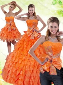 2015 Orange Sweetheart Quinceanera Dress with Ruffles and Bowknot