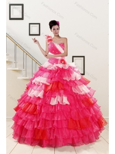 2015 Ruffled Layers and Beading Multi Color Quinceanera Dresses
