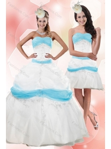 2015 Strapless Floor Length Appliques Quince Dresses