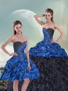 2015 Wonderful Blue and Black Sweet 15 Dresses with Beading and Ruffles