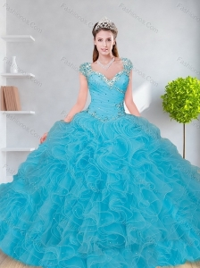 Brand New 2015 Baby Blue Quinceanera Dress with Beading and Ruffles
