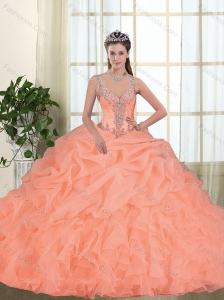 Customize Beading and Appliques Quinceanera Dresses in Orange Red for 2015