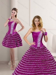 Cute 2015 Fuchsia Strapless Quinceanera Dress with Ruffled Layers and Beading