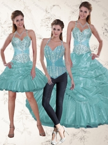 Fashionable Halter Top Aqua Blue Quince Dresses with Beading and Ruffles