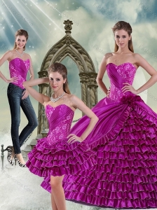 Fashionable Sweetheart Beading and Ruffled Layers Quinceanera Dresses in Fuchsia
