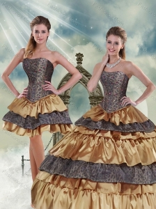 Gold Strapless Leopard 2015 Quinceanera Dress with Ruffled Layers and Beading