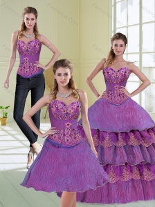 Luxurious Beading and Ruffled Layers 2015 Quinceanera Dress in Purple