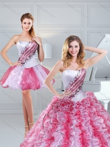 Popular 2015 Ruffles and Beading Multi Color Sweet 15 Dresses