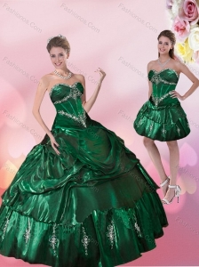 Pretty Sweetheart Dark Green Quinceanera Dresses with Beading and Appliques for 2015