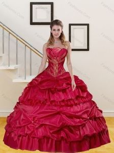 Wine Red Strapless Beading and Pick Ups Quinceanera Dresses for 2015