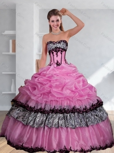 Zebra Printed Strapless Quinceanera Dress with Pick Ups and Embroidery