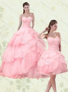 2015 Cute Sweetheart Beaded Quinceanera Dresses with Ruffled Layers