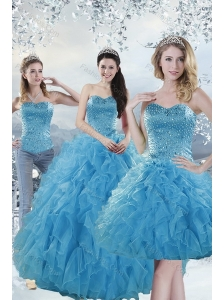 2015 Elegant Baby Blue Quince Dresses with Beading and Ruffles