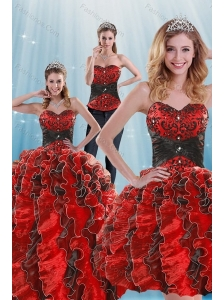 2015 Fashionable Beading and Ruffles Multi-color Dresses for Quince