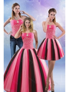 2015 Feminine Beading Quince Dresses in Multi Color