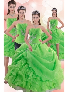2015 Inexpensive Spring Green Quince Dresses with Pick Ups and Beading