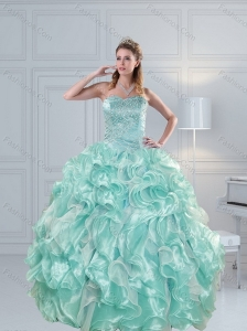2015 Luxurious Strapless Beading Quinceanera Dresses in Aqual Blue