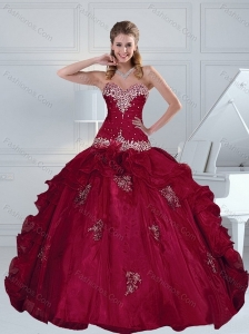 2015 Modest Appliques and Beading Burgundy Quince Dresses