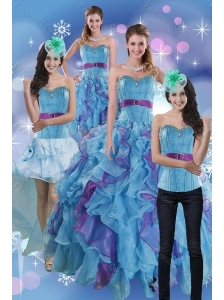 2015 Pretty Multi Color Dresses for Quince with Ruffles and Beading