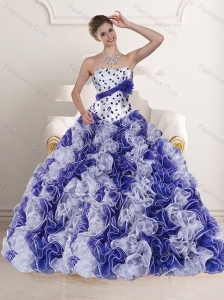 2015 Pretty White and Purple Dress for Quince with Ruffles and Beading