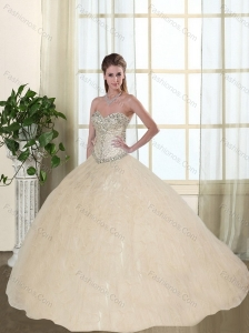 2015 Sweetheart Beaded and Ruffled  Quinceanera Dresses in Champagne