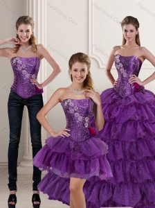 2015 Trendy Purple Quince Dress with Ruffled Layers and Beading