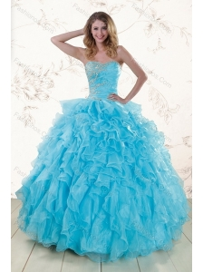 Baby Blue 2015 Prefect Sweet 16 Dresses with Beading and Ruffles
