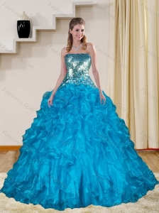 Baby Blue Quince Dresses with Ruffles and Sequins for 2015