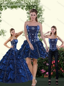 Classical Navy Blue Quince Dress with Pick Ups and Beading for 2015