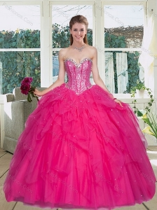 Cute Hot Pink Sweetheart Quince Gowns with Ruffles and Beading