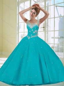 Decent 2015 Scoop Turquoise Quinceanera Dress with Beading and Appliques