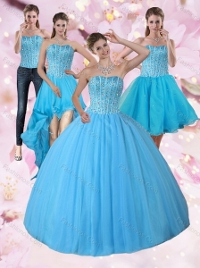 Detachable Baby Blue Strapless 2015 Quinceanera Dress with Beading