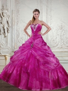 Exquisite Fuchsia 2015 Quinceanera Dress with Beading and Pick Ups