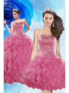 Luxurious Coral Red Quince Dresses with Beading and Ruffles