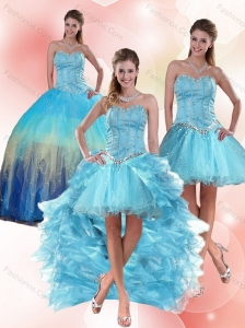Most Popular Beaded Sweetheart Multi Color Quinceanera Dress with Ruffles