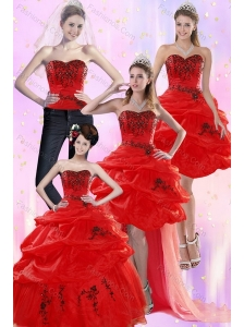 Pretty Red Quinceanera Dresses with Appliques and Pick Ups for 2015