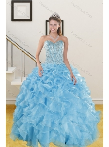The Most Popular Ruffles and Beading Baby Blue Quince Dresses for 2015
