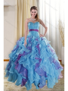 The Super Hot Multi Color 2015 Quinceanera Dresses with Ruffles and Beading