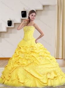 2015 Brand New Yellow Strapless Beading 2015 Quinceanera Dresses with Brush Train