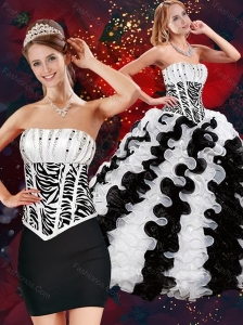 2015 Cute Strapless White and Black Quince Dresses with Beading and Ruffles