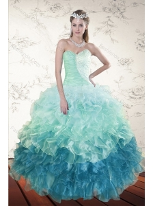 2015 Decent Multi Color Dresses for Quince with Beading and Ruffles